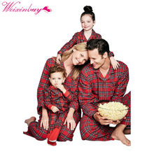 Family Matching Outfits Christmas Plaid Pajama Set Mother And Daughter Clothes Set Father Son Baby Boy Girl Rompers...(China)