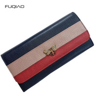 Feminine Genuine Leather Women Wallet Bee Colorblock Leather Purse Cowhide Bag