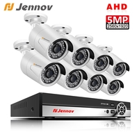 Jennov 8Ch AHD H.265 CCTV Surveillance Camera System 5MP DVR Kit Outdoor Waterproof Analog Cam P2P APP XMeye Remote Night View