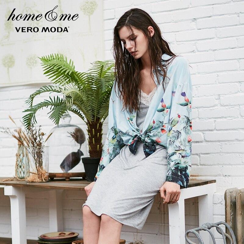 Vero moda 2019 impressão queda-ombro solto ajuste camisa pijamas   317405504