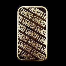 10 Pcs The Johnson Matthey JM coin 1 OZ 24K real gold silver plated ingot badge 50 mm x 28 souvenir decoration bar