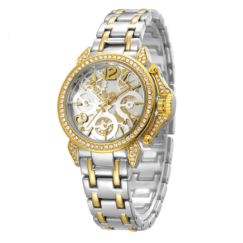 Gold women watches luxury Wrist Watch ladies Quartz quality diamond watch dress rinestone Wrist Watches Woman female(China)