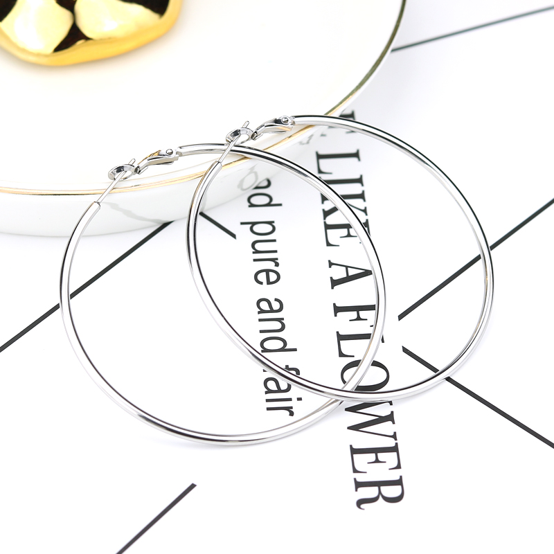 2020 Trendy Hanging Hoop Earring Round for Women Fashion Gold Big Long Earrings Set Female Stainless Steel Ear Ring Jewelry Boho