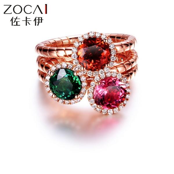 ZOCAI подлинное кольцо с турмалином 18 К розовое золото красный турмалин розовый турмалин и зеленый турмалин на выбор