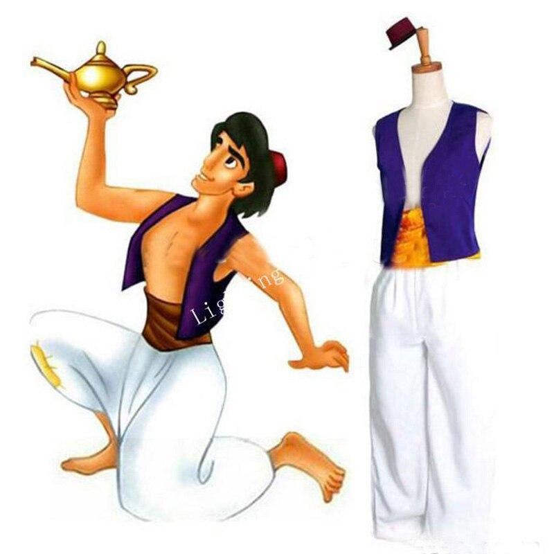 Aladdin Lamp Prince Aladdin Cosplay Costume Halloween Carnival Party Costume Full Set Custom