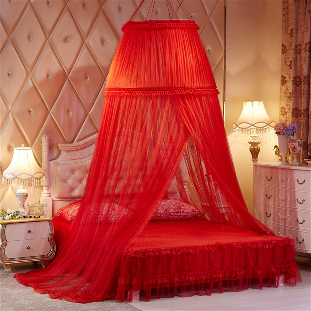 Bed Canopies For Adults Part - 48: Red Lace Princess Double Round Curtain Dome Bed Canopy Netting Mosquito Net  Wedding For Bride