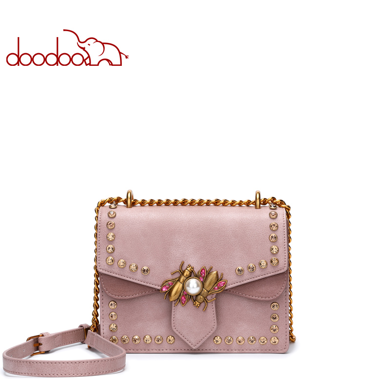 DOODOO Fashion Rivet Small Flap Bag PU Leather Messenger Bag Female Crossbody Feminina Ladies Shoulder Bags Purses and Handbags romanson tl 3222r mw wh bk