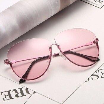 Rimless Cat Eye Women Sunglasses Transparent Fashion Brand Designer Sunglasses Lady Clearly Large Metal Frame UV400 5