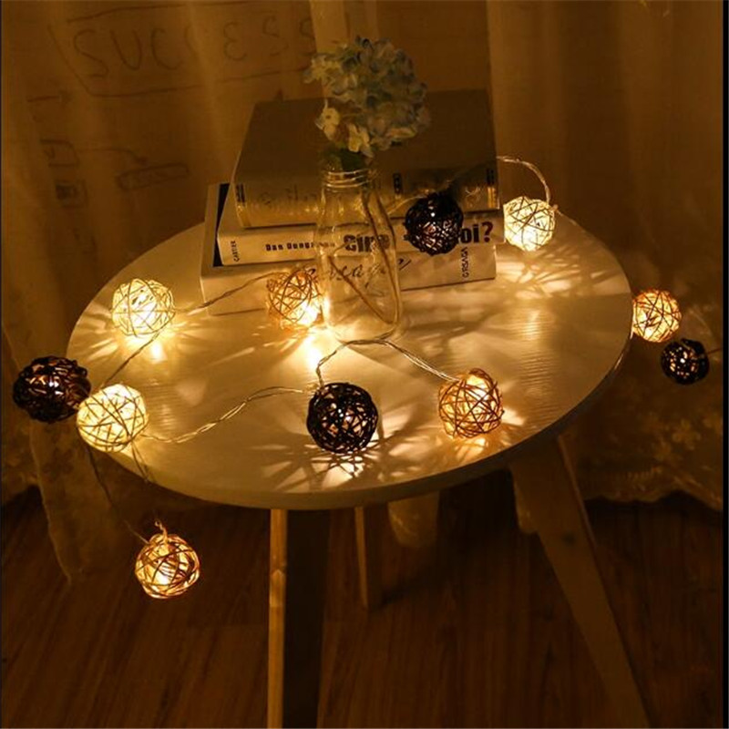 Chrismas 5M 28 Rattan Ball White Coffee LED String Lighting Home Decor for Wedding Party Fairy Lights Romantic Lamps
