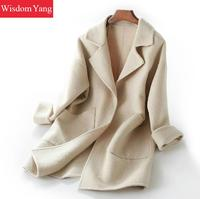 Зимнее женское Пальто бежевое синее длинное овечья шерсть альпака кашемировые пальто женские оверсайз элегантные тренчи шерстяные пальто