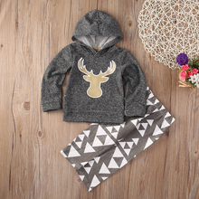Deer Toddler Kids Baby Boy Girl Hooded Tops +Pants Outfits 2PCS Clothes Set