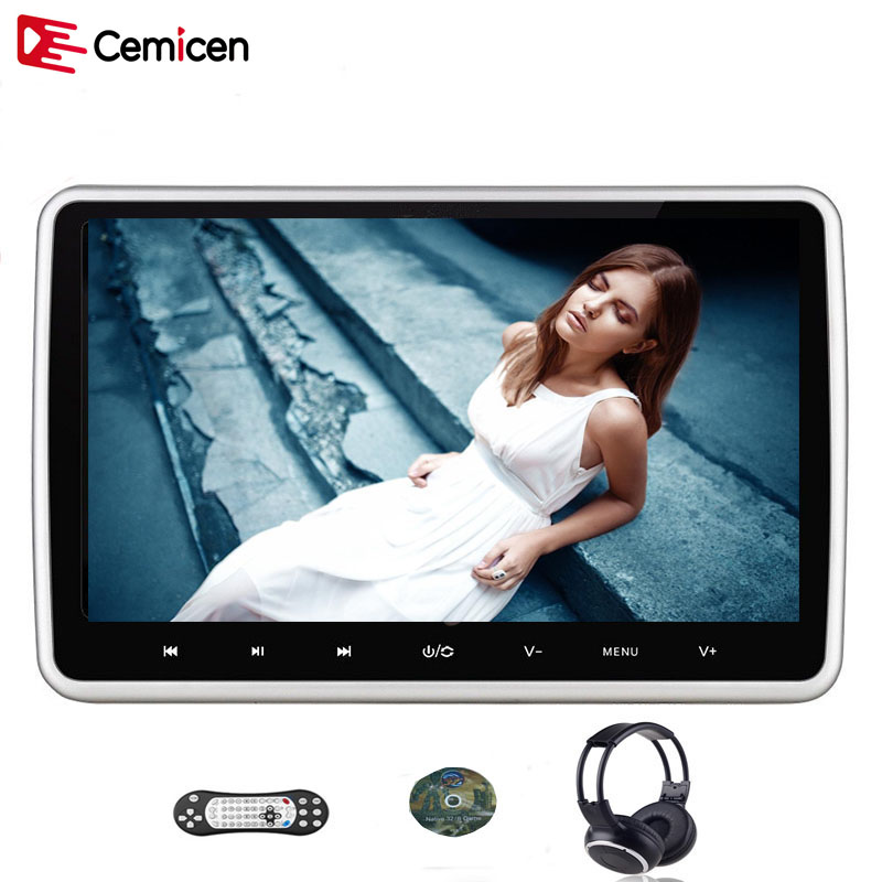 Cemicen 10.1 Inch 1024*600 Car Headrest Monitor DVD Player USB/SD/HDMI/IR/FM TFT LCD Touch Button 32 Bit Game Remote Control new arrival both car and home headrest 9 inch video display monitor cd dvd player usb sd readers hdmi port support 32 bit games