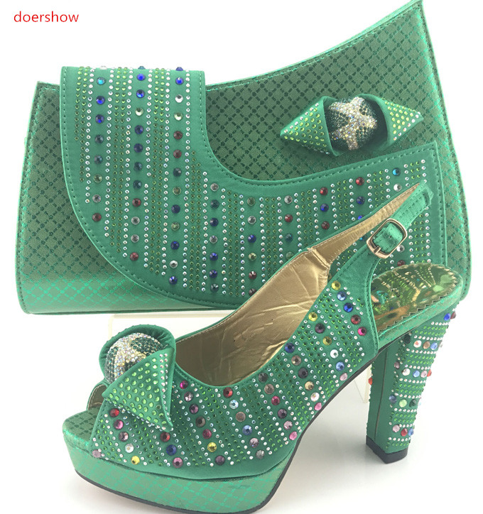 doershow good Design Italian Shoes With Matching Bags Latest Rhinestone African Women Shoes and Bags Set For On Sale PMB1-11 stylish women s satchel with rhinestone and rivet design