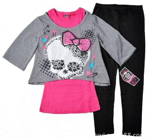 Brand original,new arrival 2014,monster high fashion girls clothes,kids long sleeve 3pcs clothing set