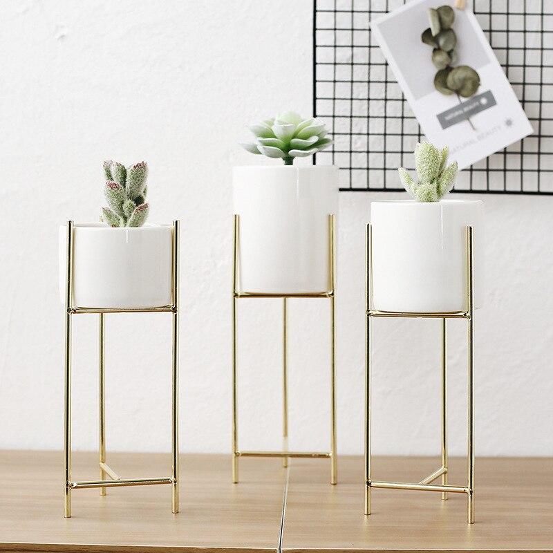 Ensemble de 3 pcs Blanc En Céramique Fleur Planteurs avec Fer Plateau Mini Plante Succulente Pot Décoratif Fleur Vase sans trou