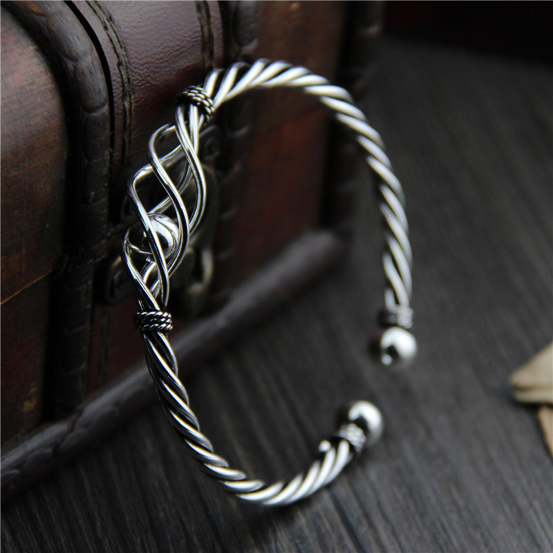 Unique Handmade Adjustable Bangle with 925 Sterling Silver Wire Bracelet for Women Best Gift Jewelry