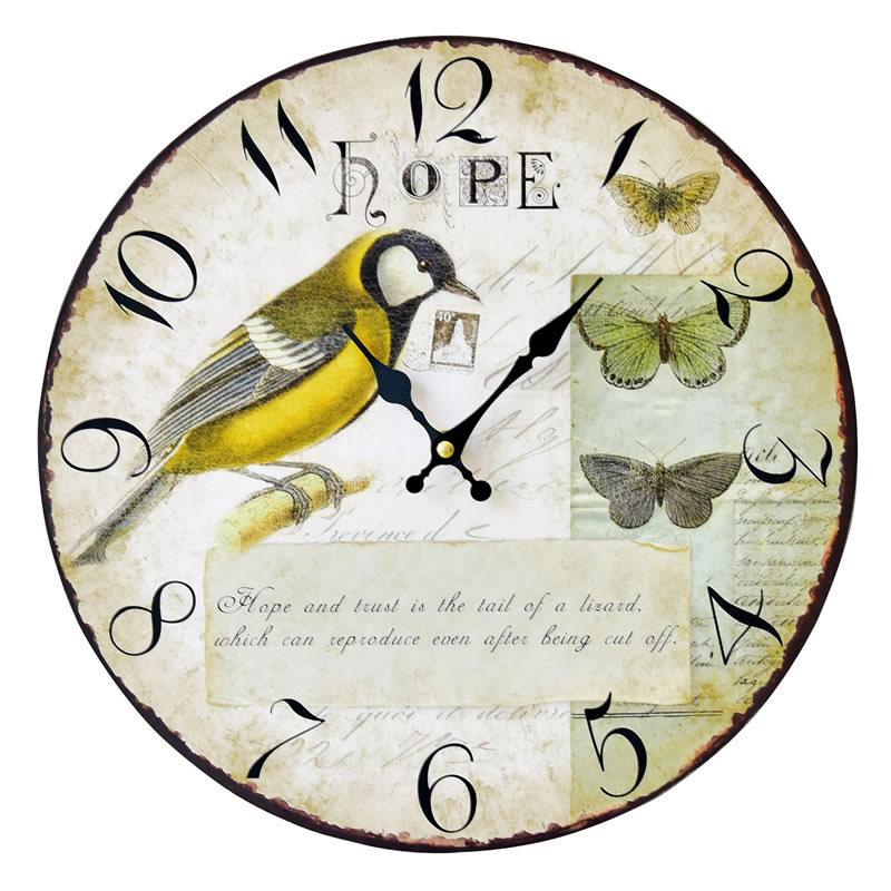 ₩Esperanza americano retro pájaro Reloj de pared de madera vieja ...