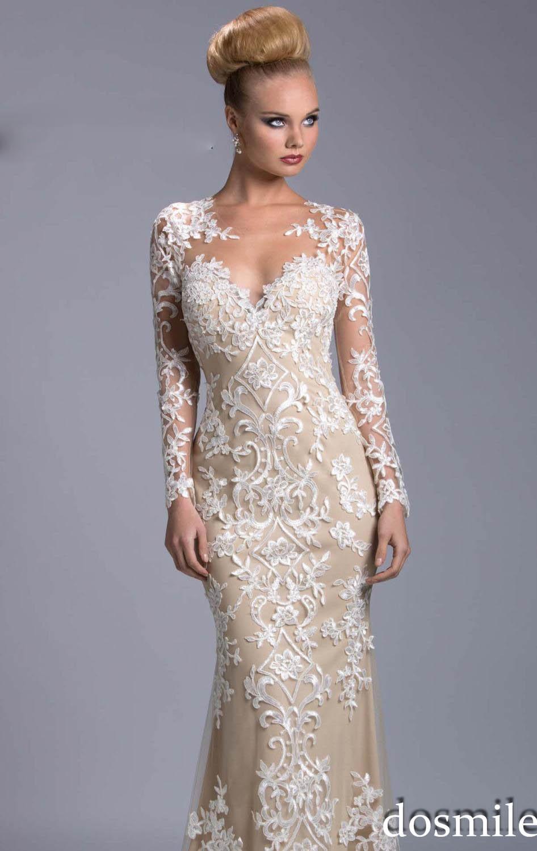 Long Sleeve Lace Mermaid Prom Dresses