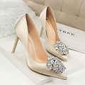 New Spring Summer Women Pumps Elegant Rhinestone Silk Satin High Heels Shoes Heeled Sexy Thin Pointed Single Shoes SMYDS-B0056