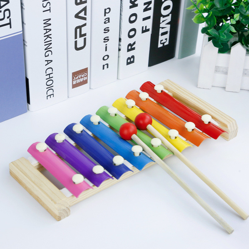 Children Wooden Octave Hand Knocking Piano Early Education Baby Puzzle Musical Toy 1-2-3 Years Wood Knocking Piano