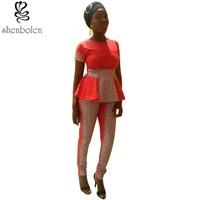 autumn 2016 African dresses for women ankara clothing wax printing knitting stitching batik tops+long pants fashion suit set