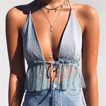 ZEBERY Women Halter Neck Front Chest Strap With Open Skyblue Transparent Gauze Hem Crop Tops Polka Dot Cropped T-shirts Outfits(China)