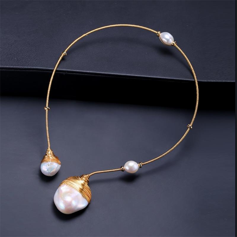 DAIMI or & perle collier Unique de luxe bijoux conceptions Baroque collier de perles 41-43 cm tour de cou Torques nouveau Style - 2