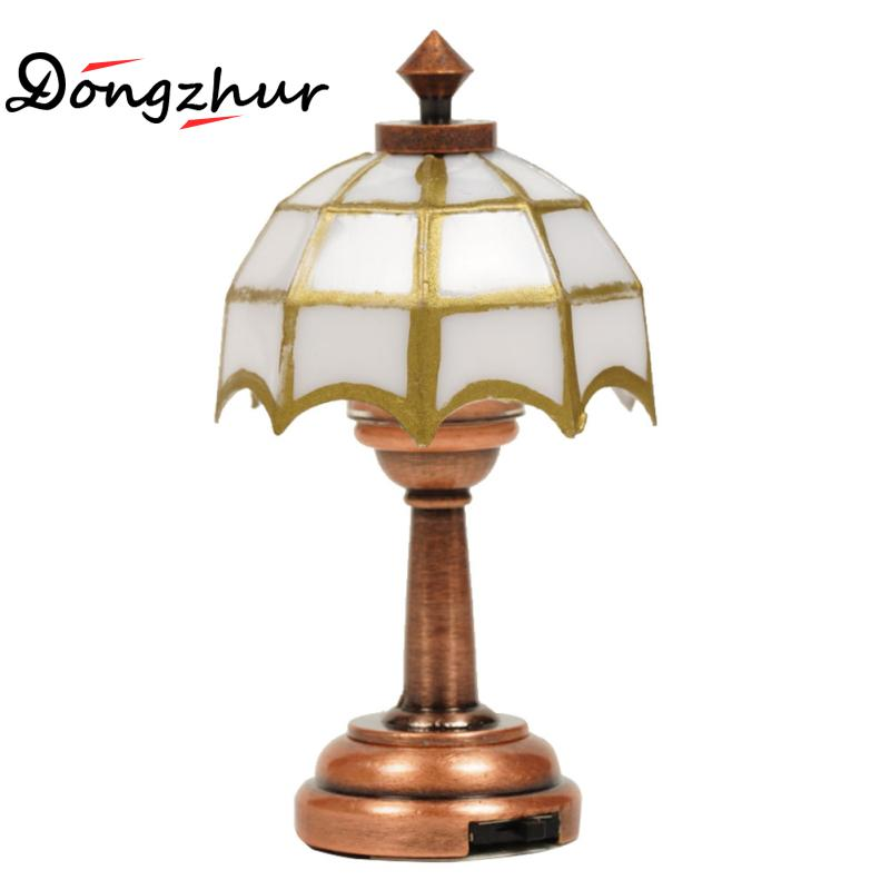 Dolls House Table Lamp With Multi Coloured Shade Miniature 12v