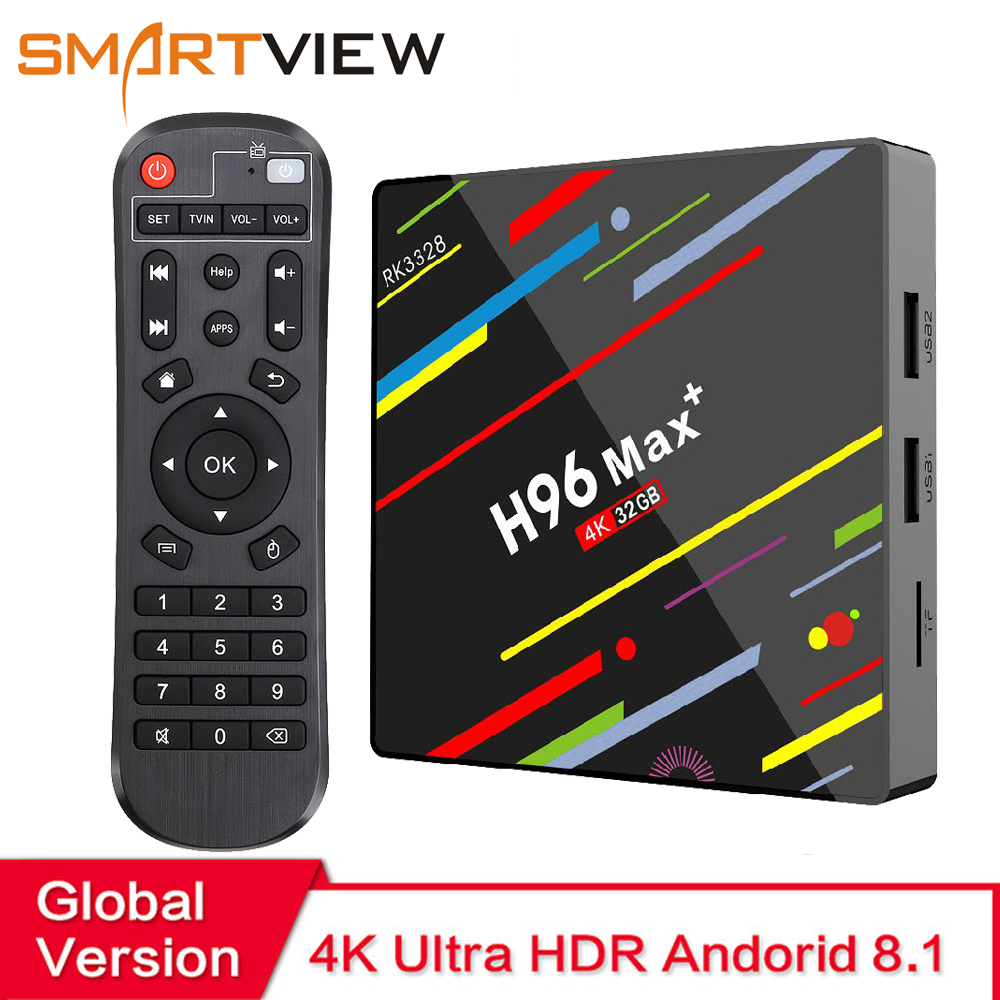 H96 MAX Plus Caixa Smart TV Android 8.1 TVBox 32 4 GB Ram GB/64 GB Rom Rockchip RK3328 4 K H.265 USB3.0 2.4 Ghz WiFi IP TV Set Top Box