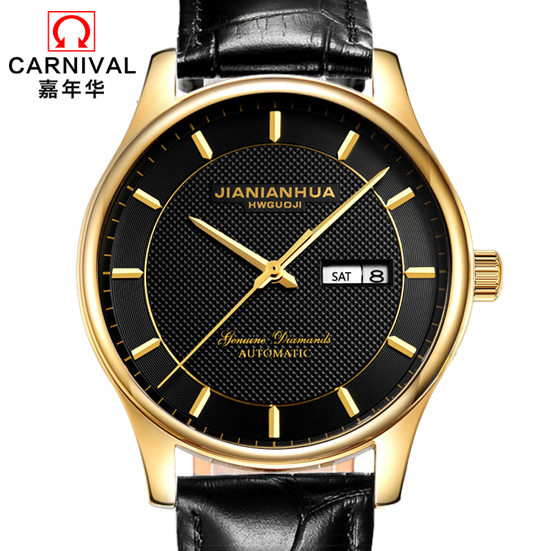 CARNIVAL Classic Business Mens Watches Top brand Luxury Automatic Watch Men Week Calendar Waterproof Sapphire skeleton