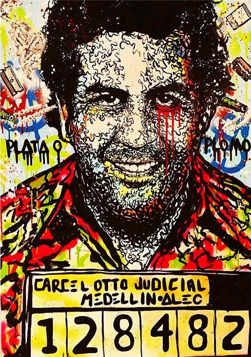 100% peinture à l'huile à la main Alec monopole peinture à l'huile sur toile art urbain décor mural Pablo Escobar 24x36