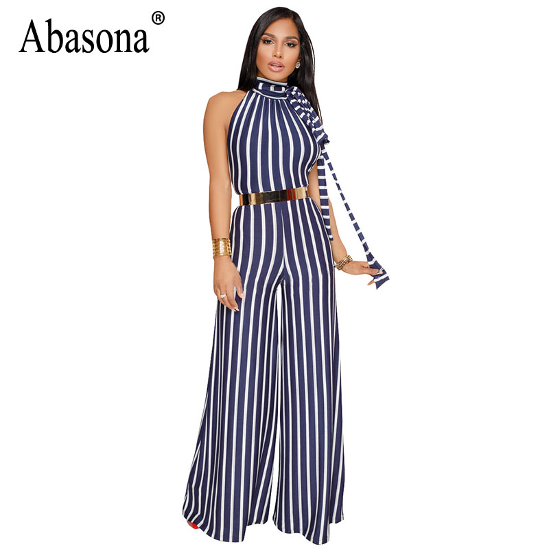 Abasona Striped Jumpsuits Women Wide Leg Pants Summer Female Overalls Sexy Backless Party Club Rompers Womens Jumpsuit