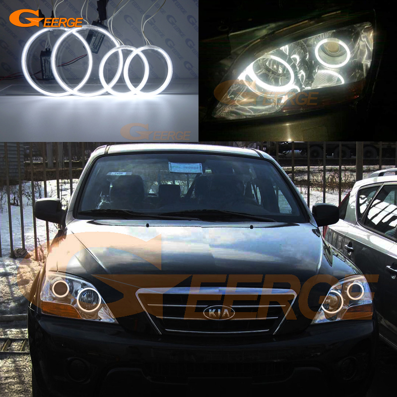 For Kia Sorento 2007 2008 2009 Excellent angel eyes Ultra bright illumination CCFL Angel Eyes kit Halo Ring hochitech excellent ccfl angel eyes kit ultra bright headlight illumination for kia sorento 2006 2007 2008 2009