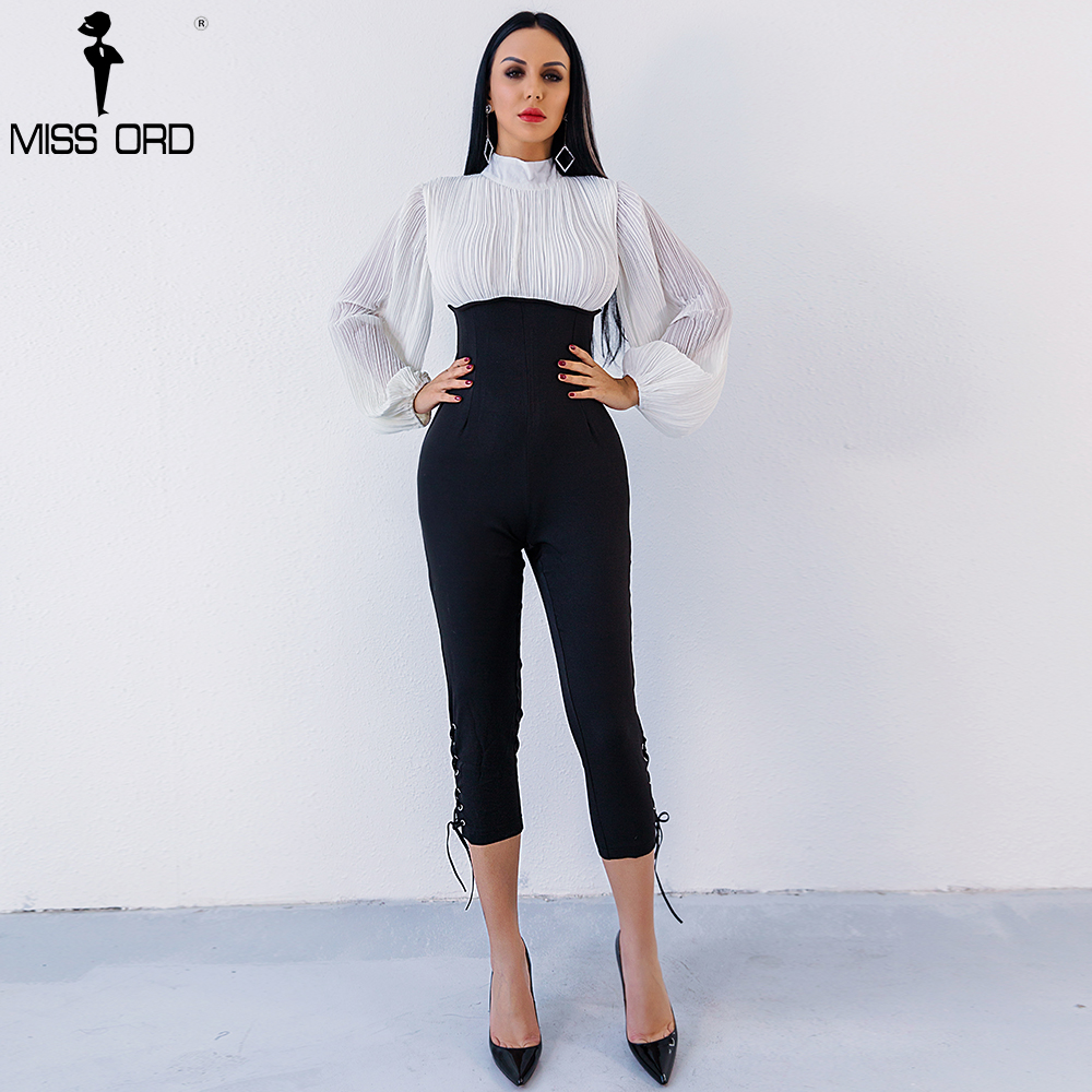 Missord 2019 Sexy high-necked long sleeve folds Drawstring   jumpsuit   FT4902