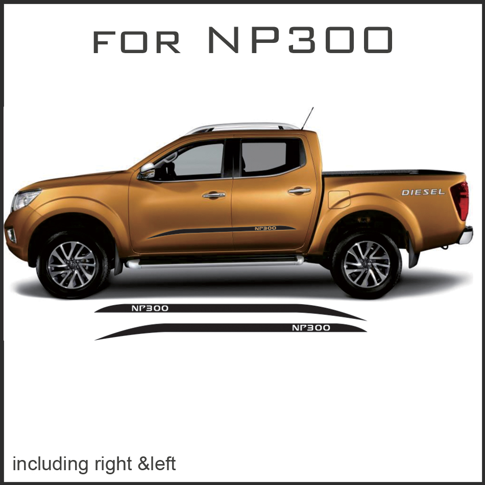 free shipping 2 PC side stripe graphic Vinyl sticker for NAVARA NP300 2015 2016 sticker 2 pc hilux hilux chequered racing side stripe graphic vinyl sticker for toyota hilux decals