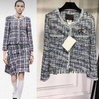 Женщин твидовый пиджак удивительные casaco feminino Мода chaqueta mujer элегантный jaqueta feminina Повседневная Женское пальто invierno 2018
