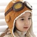 Fashion 2016 autumn winter children Pilot Aviator Fleece wool hats boys flight caps kids winter hats earflap Cap Beanie Pilot