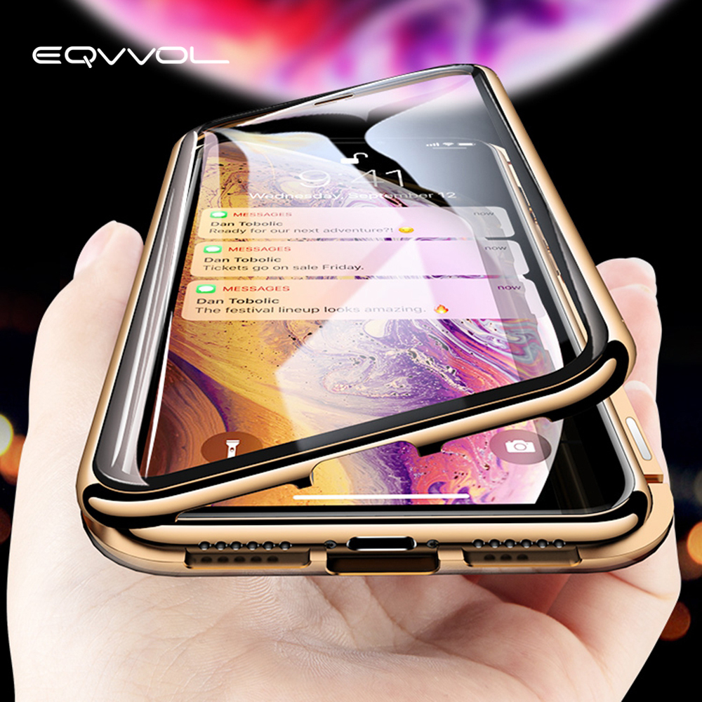 Eqvvol Metal <font><b>Magnetic</b></font> Adsorption <font><b>Case</b></font> For <font><b>iPhone</b></font> XS MAX X XR <font><b>8</b></font> 7 Plus 6 6s <font><b>Case</b></font> Double Sided Glass Magnet <font><b>Case</b></font> Cover 7Plus Funda image