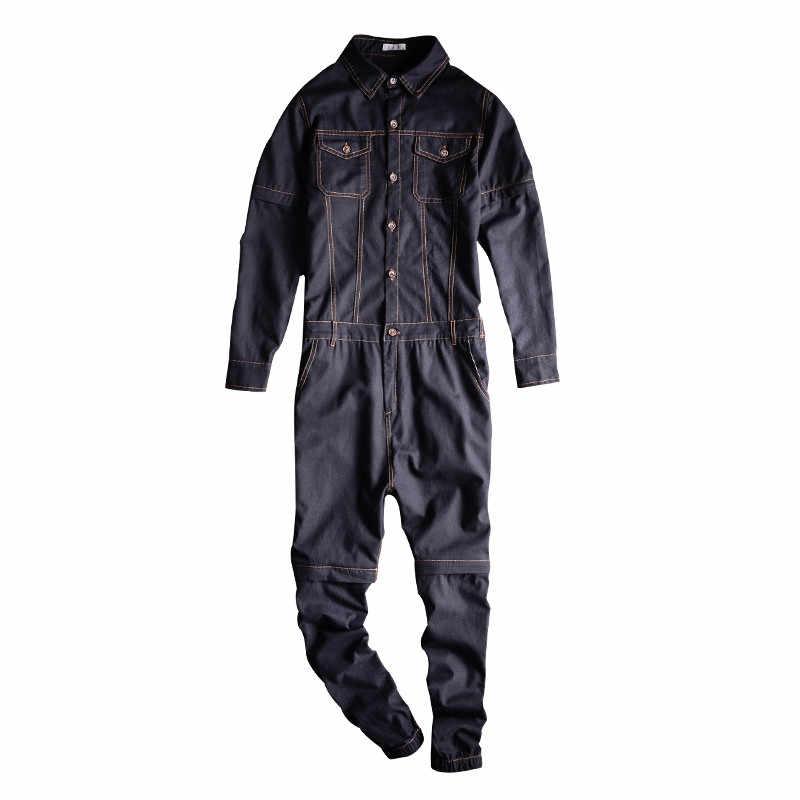 77a5318030a MORUANCLE Fashion Men s Jeans Bib Overalls Hip Hop Denim Jumpsuits For Male  One Piece Workwear Suspender