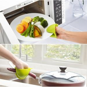Image 2 - Serviette de cuisine avec gants en Silicone épais Anti chaud, de qualité alimentaire, isolation thermique, mallette de cuisson, plaque de cuisson, Clip à la main