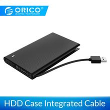ORICO HDD Case 2.5 inch SATA to USB 3.0 HDD Enclosure With Integrated Data Cable Support 4TB SSD External Hard Drive Enclosure
