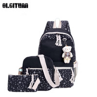 New Canvas School Bags New Cute Bear 4 Set Backpack Preppy Style Fashion Composite Bag For