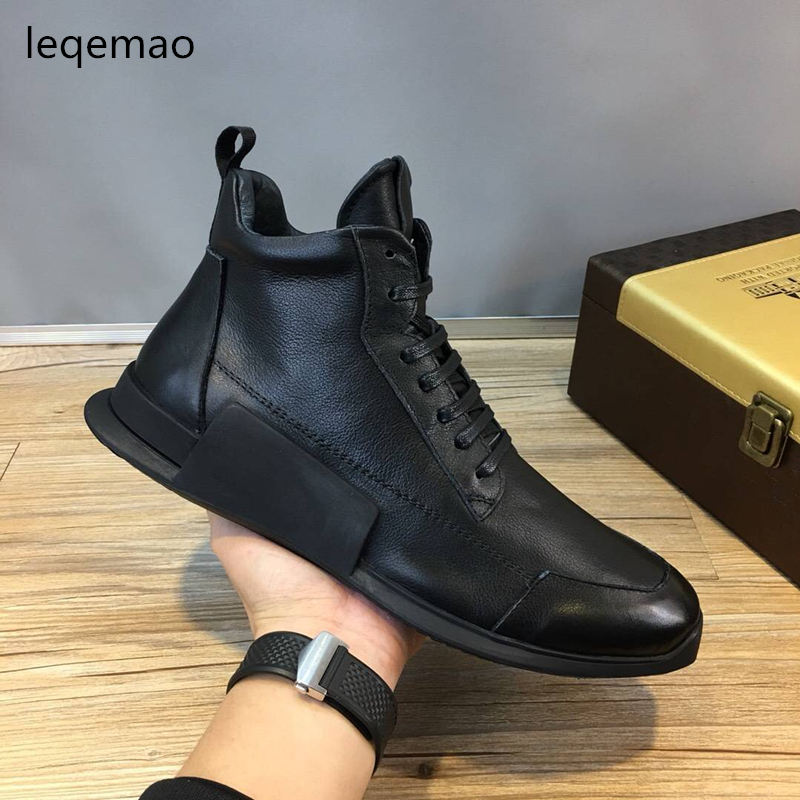 New Fashion Men Basic Lace-up Winter Warm Fur Boots High Quality Black Genuine Leather Luxury Brand Man Flats Casual Shoes 38-44 hot sale men basic black winter warm fur shoes high top nuduck genuine leather luxury brand ankle snow boots flats size 38 44