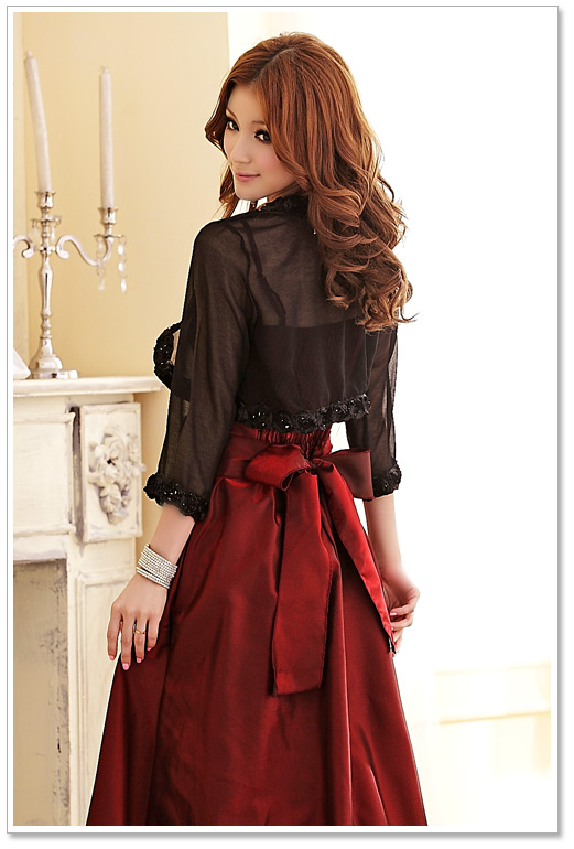 F~3XL New Women Sexy Stylish Large Big Size Cropped Rose Sheer Chiffon  Bolero Short Small Cardigan Jackets Party Evening Coats-in Basic Jackets  from Women s ... 1a6fde3d4959