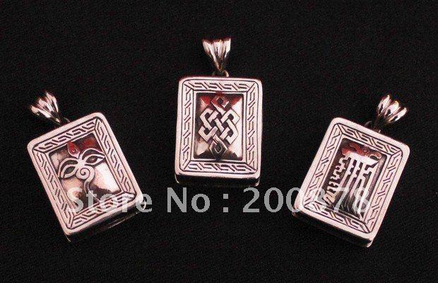 Tgb117 cobre tibetano caixa de oração, Praça adorável pingente GAU amuleto amuleto kalachakra, Buddhe olho, Nós infinitos