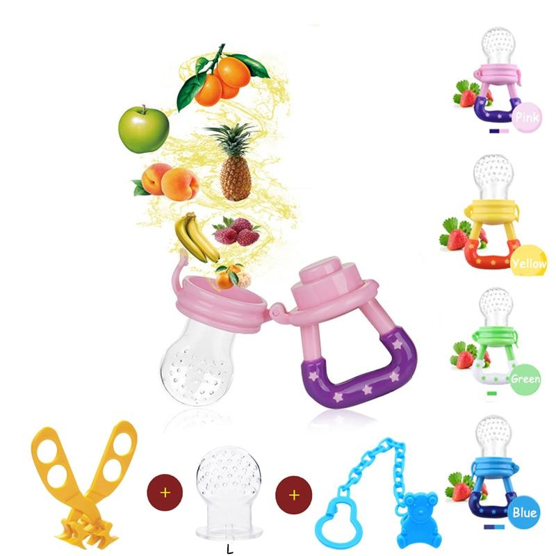 Baby Mordedor Bite Supplies Nipple Teat Pacifier Food Fruit Feeder Bottles Bite Nipple Teether Chain Buckle Food Scissors Sets