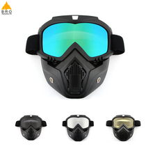 Купить с кэшбэком Men Women Dust-proof Cycling Full Face Mask Bike Windproof Winter Warmer Goggle Bicycle Snowboard Ski Masks with Anti-UV Glasses