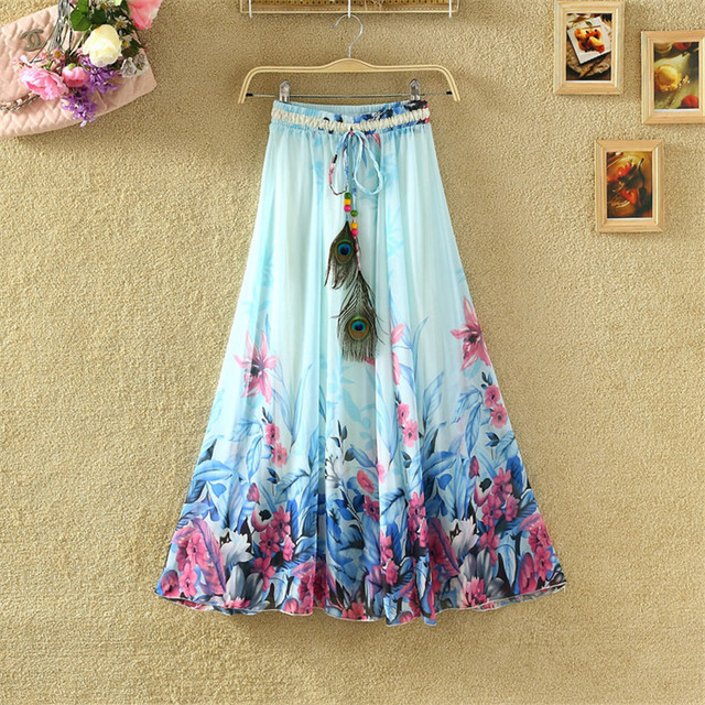 Harajuku Vintage Maxi Skirts Women Solid Boho Chiffon Saia Longa Summer Tulle Casual Bohemian Long Skirts Woman Clothing