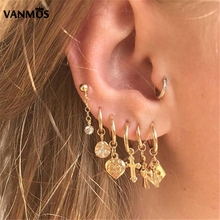 Vanmos New 12 Styles Boho Gold Color Carved Coins Pendant Hoop Earring Vintage Female Statement Ear Accessories Handmade Jewelry