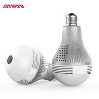 ATFMI Q1S Bulb Light Wireless IP Camera WI FI Fisheye 360 Degree Full View Mini CCTV